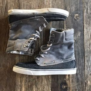 Sperry Hi Tops Gray Corduroy Plaid Interior Size 8